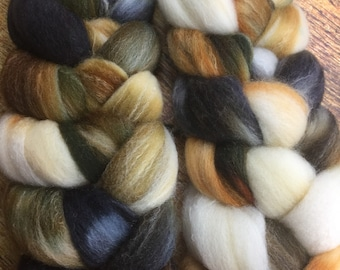 Targhee Bamboo and Silk Combed Top Roving Owls Colorway