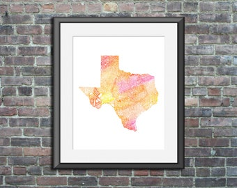 Texas watercolor typography map art unframed print state poster wedding graduation gift anniversary wall decor lake house