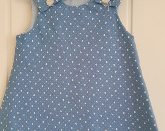 Blue Heart Girls Pinafore Dress Age 6 months