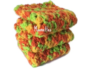 Handmade Cotton Dish Cloths Tropical Orange Green Yellow Wash Cloth Crochet Kitchen Dishcloths Set of 3