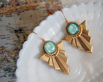 vintage brass deco dangle earrings with mint green arrow cabochon- tribal style