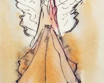 Angel Painting, Original Watercolor and ink pen, Painting, Guardian Angel, Small Paintings, Angel Art, Spiritual art