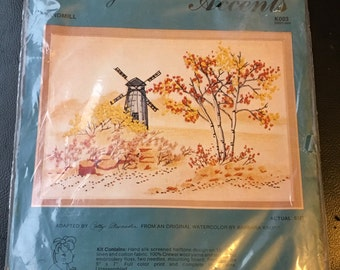 Cathy Needlecraft Water Colors Accents Windmill K003 50527-003  Crewel Kit Water Color Barbara Krupp 5 x 7 ""