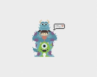 """Monsters Inc """"Kitty"""" Cross Stitch Pattern PDF Instant Download"""