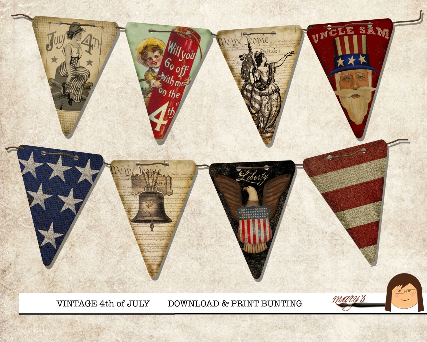 Vintage 4th of July Bunting Flags
