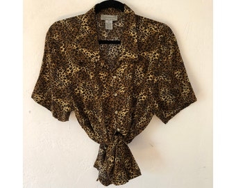 Leopard Print Blouse/ Cropped Blouse/ Knotted Blouse/ Tie Front Blouse
