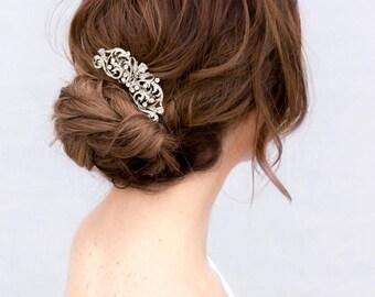Choose gold or silver crystal bridal hairpiece. Elegant wedding hair comb. White clear zirconia bridal hair barrette