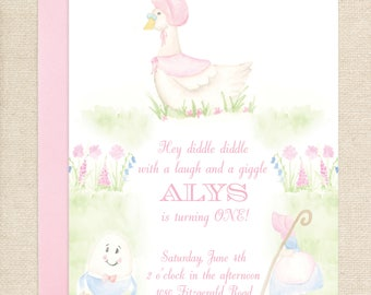 Watercolor Mother Goose Nursery Rhyme Invitation