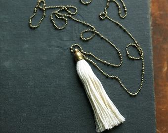 Off White Tassel Necklace, Long White Tassel Necklace, Long Tassel Necklace,  Layering Tassel Necklace
