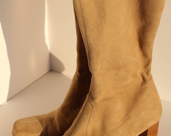 Vintage / Candies Tan Faux Suede Knee High Boots