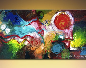 Giclee print on canvas from my original abstract painting Gentle Persuasion, colorful large wall art, 24x48""