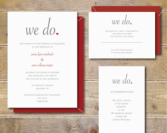 Wedding Invitations . Wedding Invites . Custom Wedding Invitations . Modern Wedding Invitations - We Do