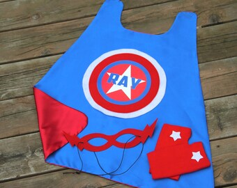 FULL NAME STAR Hero Costume - Superhero 3 Piece Costume - Personalized with full name - Includes fingerless gloves and hero mask