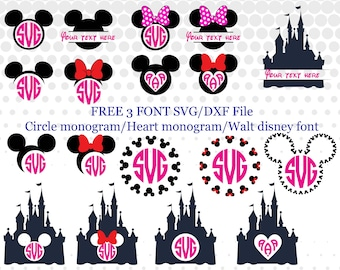 Mickey monogram svg,png,dxf/Minnie monogram svg,png,dxf/Disney monogram svg/png/dxf for Silhouette,Cricut,Design,Print and any more