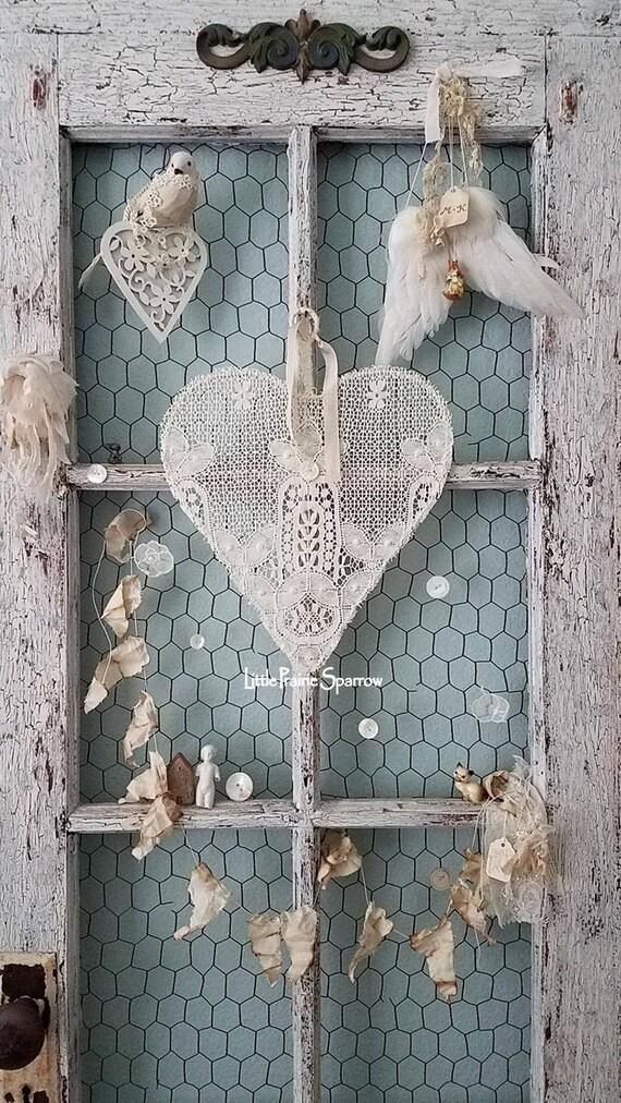 Spitze-Herz Draht Herz Kranz Hochzeit-Zeichen
