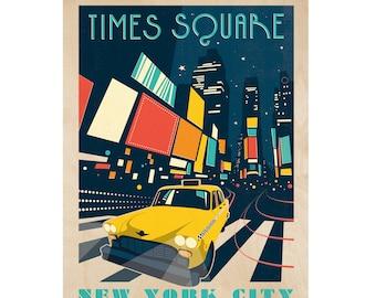 Times Square NYC Wood Print
