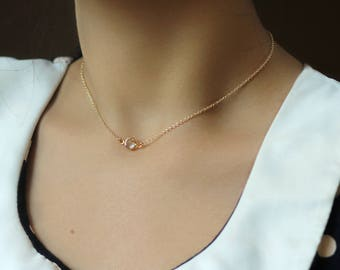 Dainty Swarovski Crystal Necklace or Choker Fresh Start Affirmation Jewelry Adjustable Length 14k gold filled or Sterling Silver Minimal