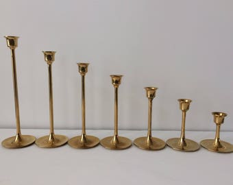brass tulip candlestick holders set of seven / Mid Century Modern