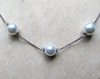Genuine South Sea 14 mm Pearl Necklace, Three Large White/Cream Pearls, Sterling Silver Chain - Bridal Birthday Anniversary by enchantedbeas