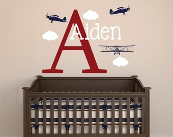 Airplanes Name Wall Decal - Boys Name Wall Decal - Airplane Nursery Decor - Custom Name Wall Decal - Airplanes Vinyl Wall Decal