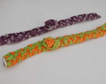 2 textile necklaces with flowers, orange and green, plum antique rose, textile flower, textile jewelry, adults or children, textile choker