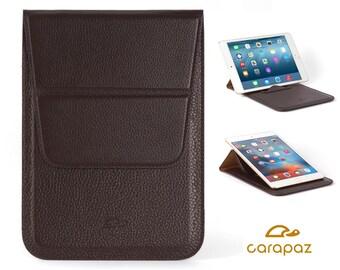 iPad Mini Case Leather - iPad Mini Pouch - iPad Mini Cover - iPad Mini Sleeve - Stand Function - Grained Leather - BROWN