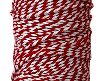 Red Twine 100 yards strong 12 ply Gift Wrap Bakery Box Wrap Gift Tag Crafts String Red and White Bakers Twine