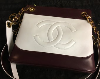 RARE Vintage Chanel two-tone leather tote w/ detachable/reversible top handle PRICE REDUCED