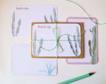 Note Cards and Envelopes Set // Set of 6 Flat Notecards with Watercolour Cactus Design & Envelopes // Cactus Notecard Set // Stationery Set