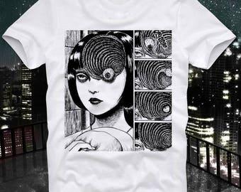 Uzumaki Junji Ito Tomie Horror Gore Goru Eyeball Manga Anime Japan Japanese  Retro Vintage T Shirt Tee