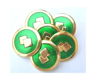 6 Vintage metal buttons gold color with unique green 21mm