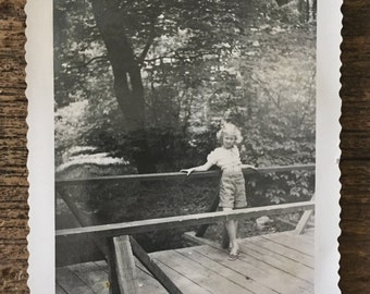 Original Vintage Photograph The Girl on the Bridge