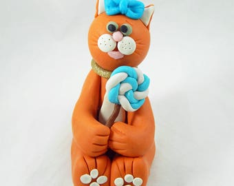 Polymer Clay Figurine. Polymer Clay Cat. Cat Figurine. Ornament. Cat Ornament. Cat Lover Gift. Stocking Stuffer.