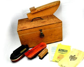 Vintage Shoe Shine Kit Home Made Solid Wood Box with Brushes and Buffers