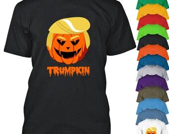 Halloween Pumpkin TRUMPKIN MAN TSHIRT Trump Halloween Funny Tee Shirt Man