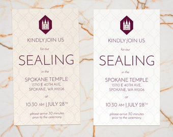 Geometric LDS Temple Sealing Invitation - Customizable Wording and Colors