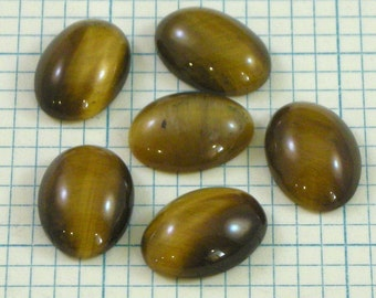 6 14x10mm Tigers Eye Cabochons