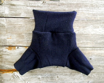 Upcycled Wool Shorties  Soaker Cover Diaper Cover With 3- Wet Zone Layers Navy Blue MEDIUM 6-12M Myecobaby