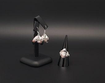 Bee Flower - Silver Jewellery Set | Silver Earrings | Silver Ring | Polymer Clay Jewellery