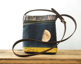 Yellow moon shoulder bag, handbag pouch, crossbody bag with leather handle, yellow, black