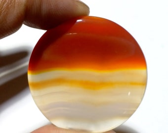 91Ct 42MM Natural Orange Banded Agate Gemstone Loose Banded Agate Cabochon Round shape Banded Agate Pendant Orange Banded Agate Stone E618
