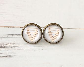 Gold Triangles Earrings - Antique Bronze Studs - Hypoallergenic Earrings - Glass Earrings - Gift for Her - Surgical Steel Earrings
