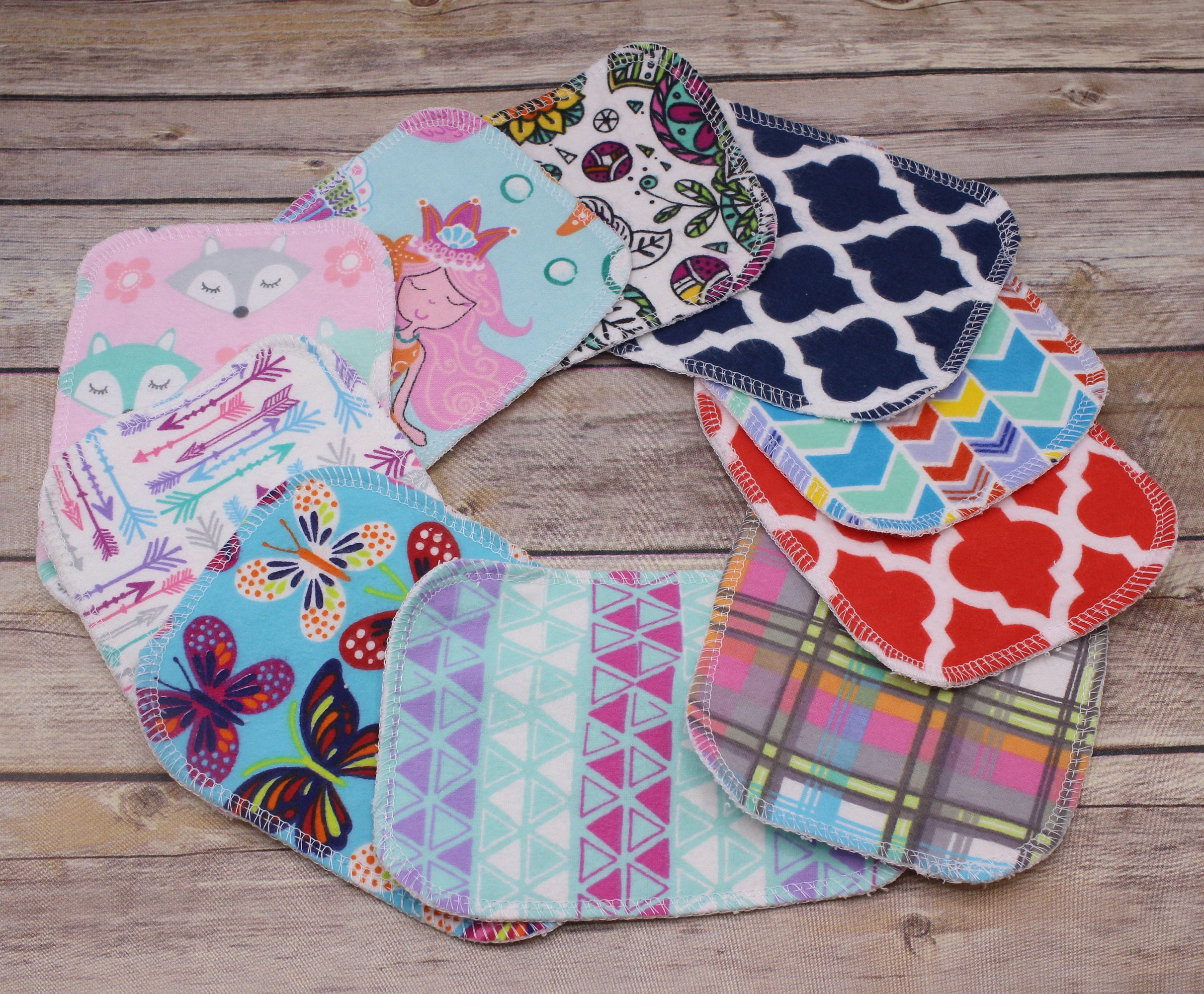Reusable Cloth Wipes 10 Mixed Prints Washable Face Wipes