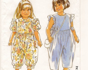 An Easy Sleeveless/Short Sleeve, Ankle Length Jumpsuit w/Neckline Variations Pattern for Children: Uncut - Sizes 2-3-4-5-6 • Simplicity 7704