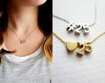 Number Charm Necklace - Team Jersey Number, Personalized Gift for Her, Teen Gifts, Lucky Number Necklace, Numbers Necklace, Date Necklace