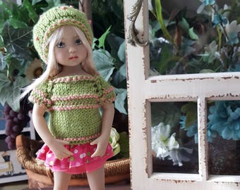 Dianna Effner Little Darling Doll Hand Knit Sweater and Hat w/ Ruffle Skirt