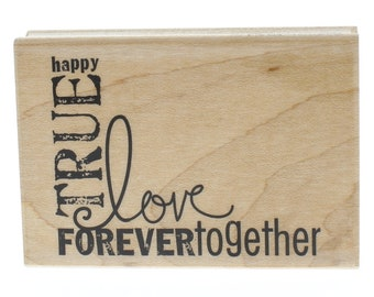 Hampton Art Happy True Love Forever Together Wooden Rubber Stamp