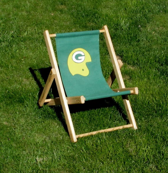 Child Size Green Bay Packers Folding Chair Wood And Cloth
