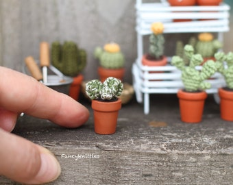 Miniature Cactus Dollhouse Crochet Potted Plant, Echinocactus Hedgehog Simple Cacti Pot, Fancy Collectable Gift for Cactus Succulent Lovers