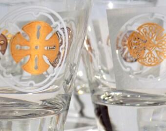 Mid Century Shooter / Shot Glasses Gold and White Sand Dollar Hollywood Regency Elegant Beach House Barware, Golden Medallions
